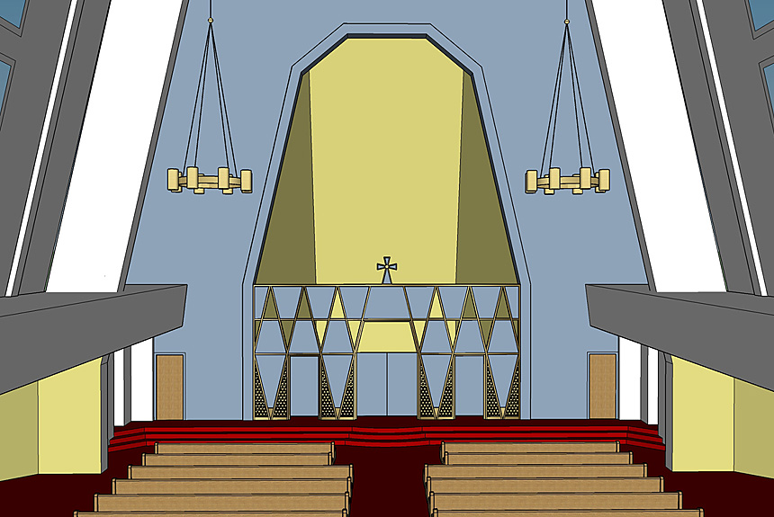 Renderings for UCNS Holy Family Iconostas by The Kurylas Studio